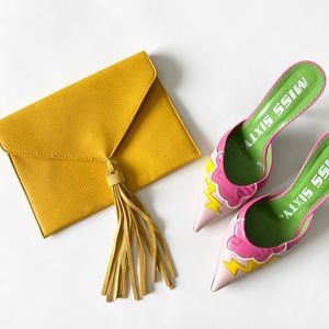 new Street Level ღ Leather Tassel Envelope Clutch